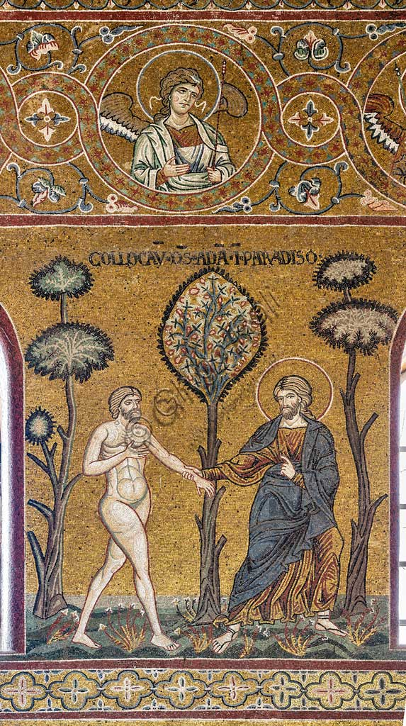 "Monreale, Duomo: ""God introduces Adam into the Earthly Paradise"", Old Testament Cycle - The Earthly Paradise, Byzantine mosaic, XII - XIII century.Latin inscription: ""COLLOCAVIT DEUS ADAM IN PARADISE ""."