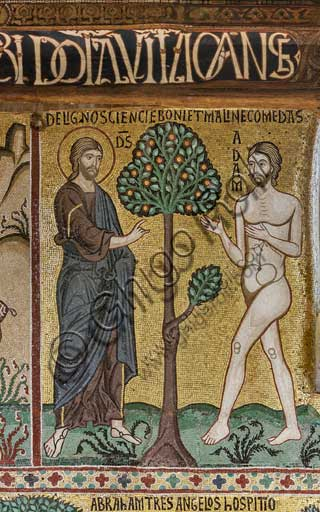 "Palermo, The Royal Palace or Palazzo dei Normanni (Palace of the Normans), The Palatine Chapel (Basilica), cycle of mosaics on the Old Testament, cycle of the Creation: ""God introduce Adam into Eden"", XII century."