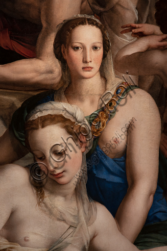 "Basilica of the Holy Cross, Medici Chapel: ""Descent of Christ to the Limbo"", 1522, by Bronzino, oil painting on panel.Detail."