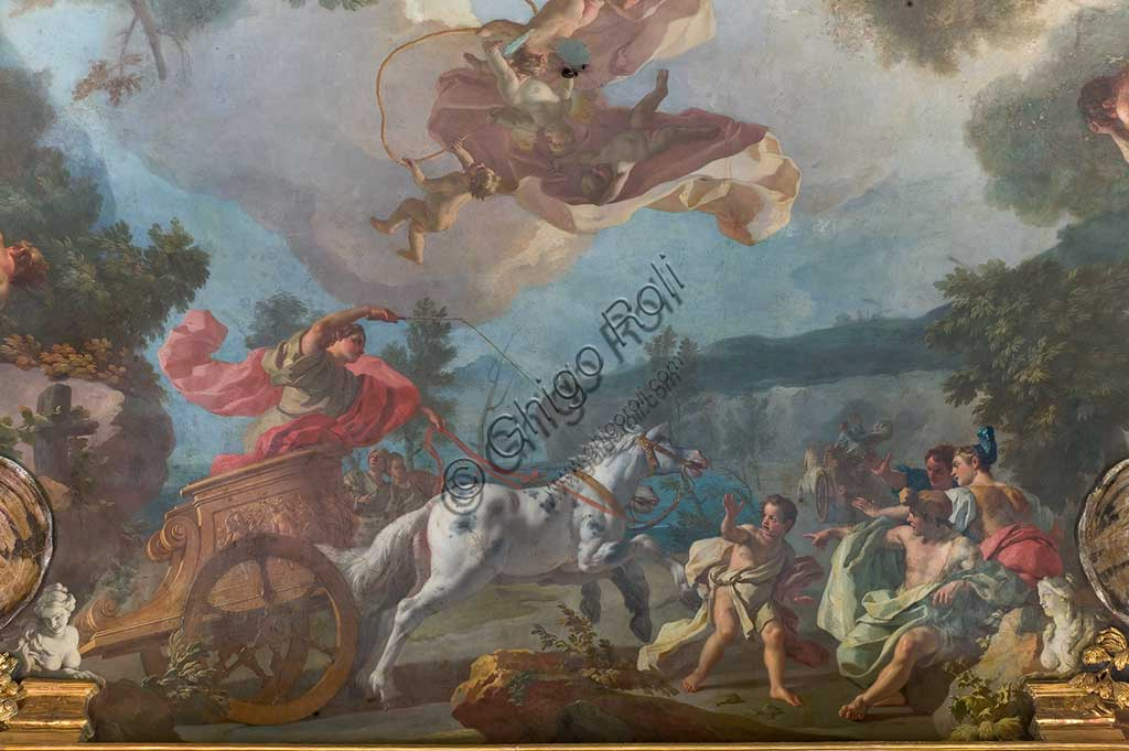 "Turin, the Royal Palace, the Archives apartment (Third Room): ""Disciplines of the Olympic Games"". Fresco by Francesco De Mura, 1741 - 43. Detail with horse and biga."