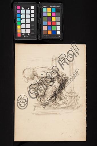 """Giuseppe Mentessi (Ferrara, 29 settembre 1857 – Milano, 14 giugno 1931): """"Disegno preparatorio"""" ; matita su carta."""