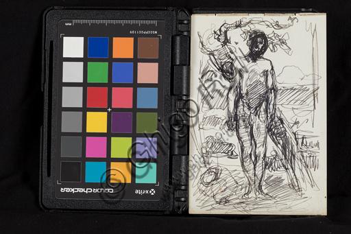 "Giuseppe Mentessi (Ferrara, 29th September 1857 – Milano, 14th June 1931): ""Preparatory Drawing""; pencil on paper."