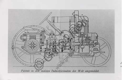 Old Tractor. Detail of the technical drawing.Make: HürlimannModel: 1 K 8Year: 1929Fuel: GasolineNumber of Cylinders: 1Displacement: 850 ccHorse Power: 8 HPCharacteristics: Bernard engine,  it cost a lot (3,750 Swiss francs).