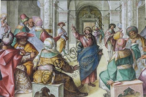 """Cremona, Duomo (Cattedrale di S. Maria Assunta), interno,  presbiterio, ottavo arcone: particolare della """"Disputa di Gesù con i Dottori"""", affresco di Boccaccio Boccaccino, 1518."""