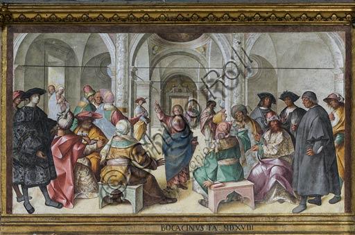 """Cremona, Duomo (Cattedrale di S. Maria Assunta), interno,  presbiterio, ottavo arcone: """"Disputa di Gesù con i Dottori"""", affresco di Boccaccio Boccaccino, 1518."""