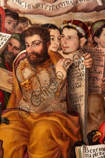 """Perugia, Galleria Nazionale dell'Umbria: """"Disputa sull'Immacolata Concezione"""", di Valerio di Agostino Oliviere, detto Valerio Aretino, ottavo - nono decennio del XVI secolo. Olio su tavola. Particolare con uomo barbuto."""