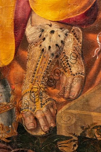"""Perugia, National Gallery of Umbria: """"Dispute on the Immaculate Conception"""", by Valerio di Agostino Olivieri, known as Valerio Aretino, eighth - ninth decade of the sixteenth century. Oil on panel. Detail with  feet and luxurious leggings"""