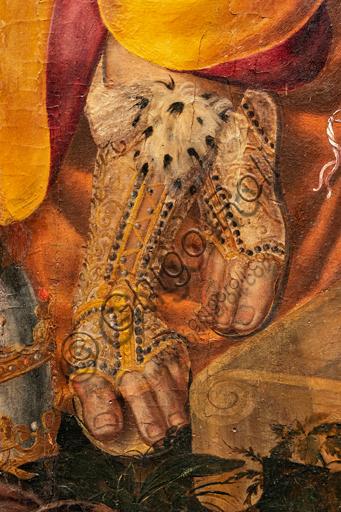 """Perugia, Galleria Nazionale dell'Umbria: """"Disputa sull'Immacolata Concezione"""", di Valerio di Agostino Oliviere, detto Valerio Aretino, ottavo - nono decennio del XVI secolo. Olio su tavola. Particolare con piedi e lussuosi gambali."""