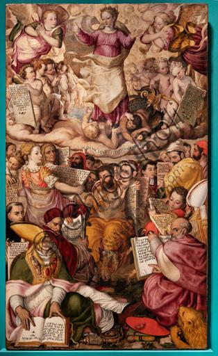 """Perugia, Galleria Nazionale dell'Umbria: """"Disputa sull'Immacolata Concezione"""", di Valerio di Agostino Oliviere, detto Valerio Aretino, ottavo - nono decennio del XVI secolo. Olio su tavola."""