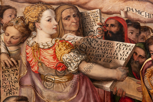 """Perugia, National Gallery of Umbria: """"Dispute on the Immaculate Conception"""", by Valerio di Agostino Olivieri, known as Valerio Aretino, eighth - ninth decade of the sixteenth century. Oil on panel. Detail with young woman."""