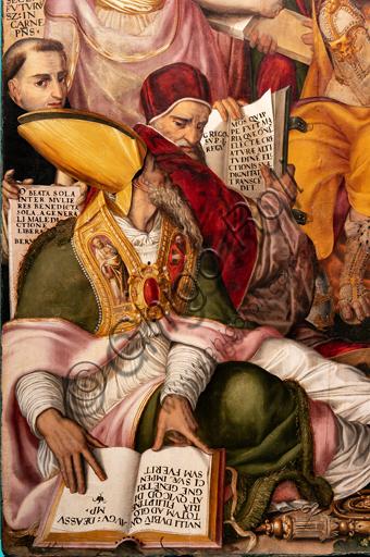 """Perugia, Galleria Nazionale dell'Umbria: """"Disputa sull'Immacolata Concezione"""", di Valerio di Agostino Oliviere, detto Valerio Aretino, ottavo - nono decennio del XVI secolo. Olio su tavola. Particolare con vescovo e cardinale."""