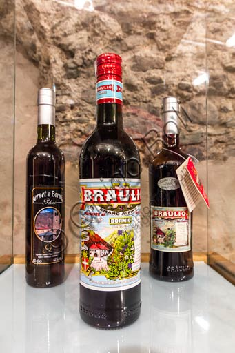 Distilleria Peloni: bottles of Braulio tonic liquor.