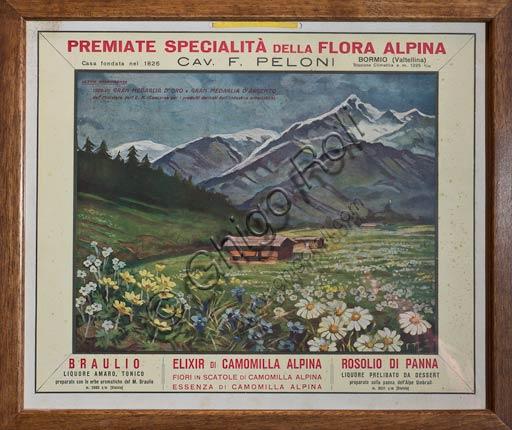 Distilleria Peloni: manifesto pubblicitario di alcuni prodotti, tra i quali l'amaro Braulio.