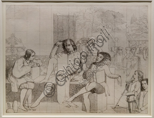 """Study for """"The Twelfth Night"""",  (1850)  by Walter Howell Deverell (1827 - 54); graphite and ink on paper."""