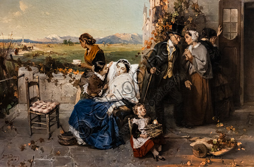 """Domenico Induno: """"As Leaves fall"""", oil painting, 1858."""