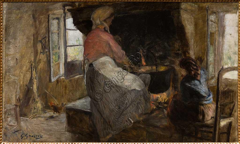 """Collezione Assicoop Unipol:  Giuseppe Graziosi  (1879-1942), """"Donna al focolare""""; olio su tela."""