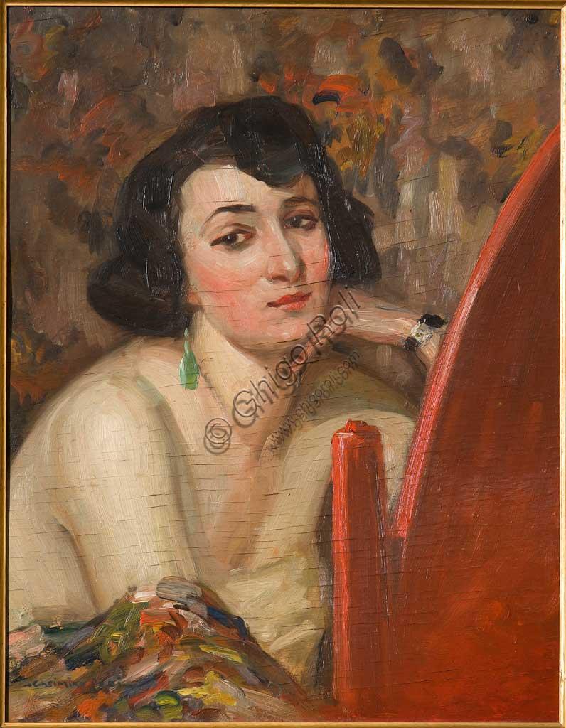 """Collezione Assicoop - Unipol: Casimiro Jodi (1886-1948),  """"Donna allo specchio"""". Olio su compensato, cm. 47,5x59,5."""