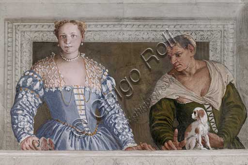 "Maser, Villa Barbaro, the Hall of Olympus: ""Donna Barbaro and her nurse"". Fresco by Paolo Caliari, known as il Veronese, 1560 - 1561."