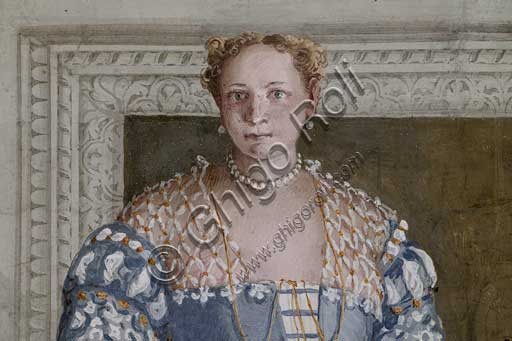 "Maser, Villa Barbaro, the Hall of Olympus: ""Donna Barbaro"". Fresco by Paolo Caliari, known as il Veronese, 1560 - 1561."