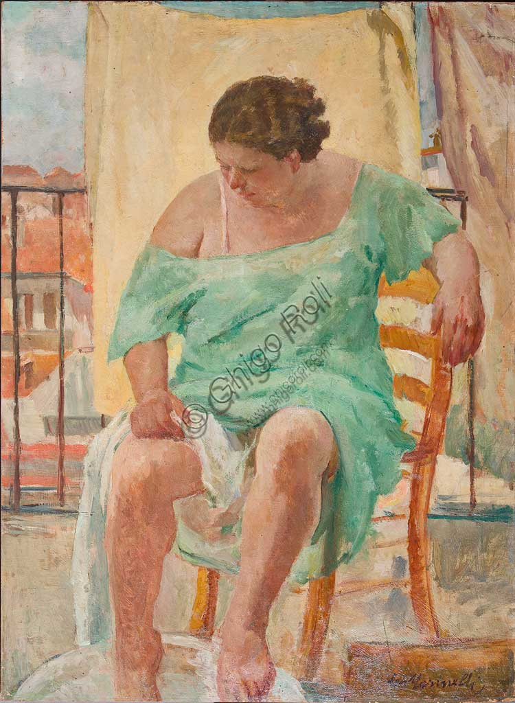 "Assicoop - Unipol Collection: Leo Masinelli (1902-1983), ""Woman washing her feet"". Oil on plywood, cm. 90x125."