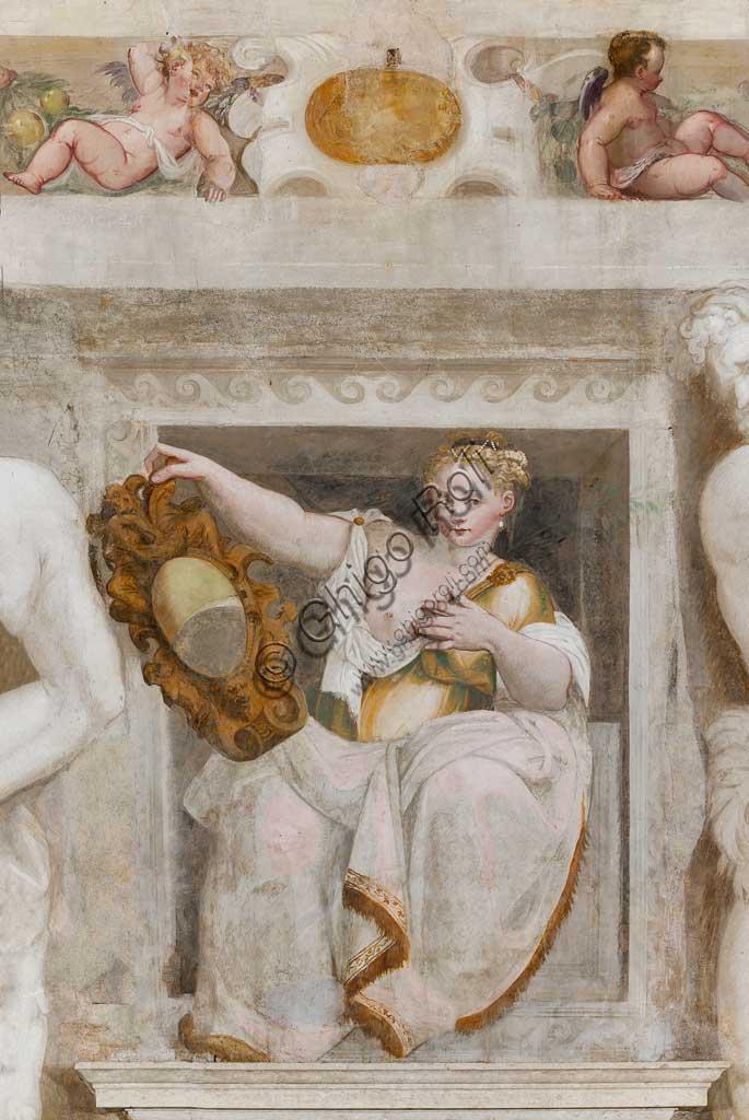 Caldogno, Villa Caldogno, main hall: Detail with woman holding a mirror. Fresco by Giovanni Antonio Fasolo, about 1570.