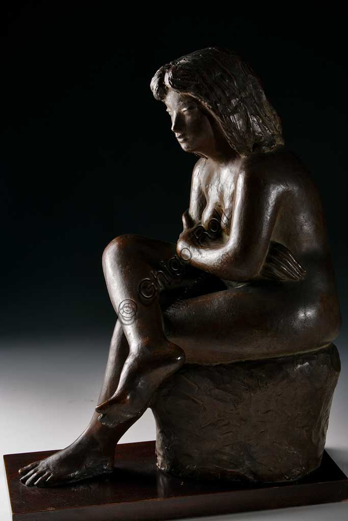"Assicoop - Unipol Collection: Ivo Soli (1898-1976), ""Sitting Woman"". Bronze."