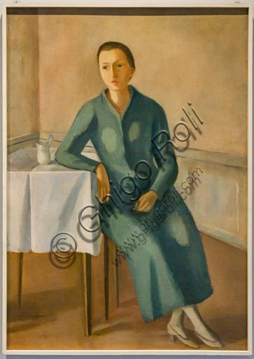 """Museo Novecento: """"Donna solitaria"""", di Virgilio Guidi, 1938. Olio su tavola."""