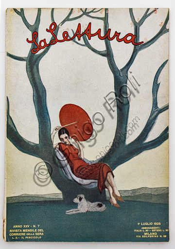 """""""Woman sitting on a Tree with a Red Parasol. La Lettura, July 1, 1925"""", Illustration by Marcello Dudovich for the cover  of the magazine """"La Lettura"""", 1924, letterpress print."""
