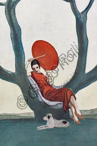 """""""Donna su albero con parasole rosso. La Lettura, 1° luglio 1925"""", illustrazione di Marcello Dudovich per la copertina della rivista La Lettura, 1925, stampa tipografica. Particolare."""
