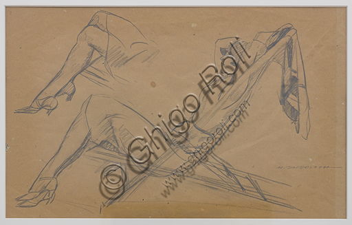 """""""Woman on a Deck Chair"""",  by Marcello Dudovich, pencil sketch on paper."""