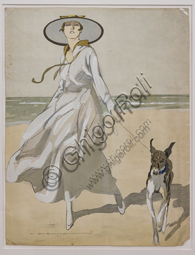 """""""Woman on a Beach with a greyhound"""", Illustration by Marcello Dudovich,  print. This image was used as cover by the German magazine Simplicissimus."""