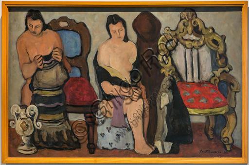 """Museo Novecento: """"Donne sedute"""", di Giuseppe Santomaso, 1941. Olio su tela."""