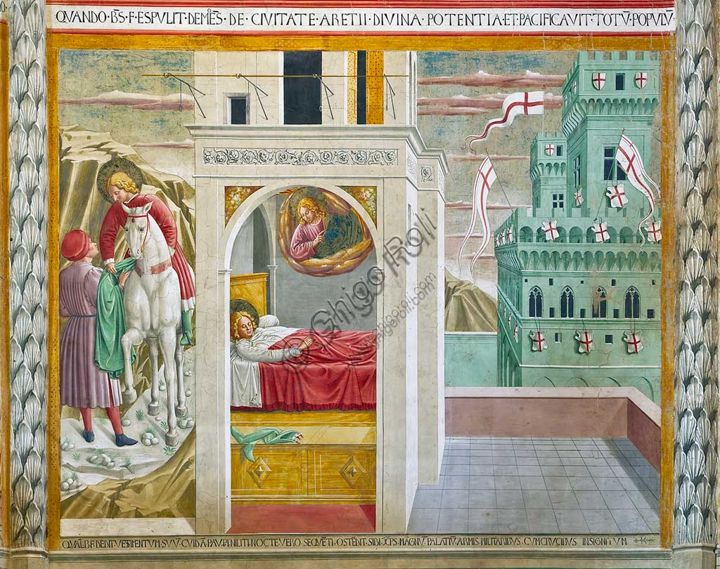Montefalco, Museum of St. Francis, Church of St. Francis: the central apse with frescoes on the life of St. Francis, by Benozzo Gozzoli, 1450. Detail of the gift of the cloak to a poor man and Jesus in a dream showing Saint Francis a palace adorned with shields and crusader flags.