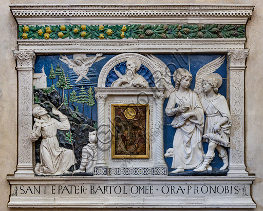 "Basilica of the Holy Cross: """"Dossal of an altar with central ciborium"", which represents, from the left, St. Francis, St. Bartholomew, the Archangel Raphael  and Tobiolo. Below there is an inscription,  by Andrea Della Robbia, about 1475, bas-relief polychrome glazed terracotta."