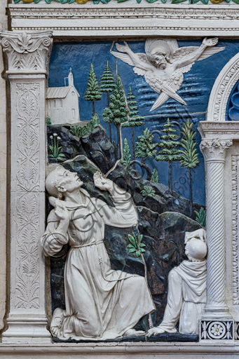 "Basilica of the Holy Cross: """"Dossal of an altar with central ciborium"". Detail of St. Francis and St. Bartholomew,  by Andrea Della Robbia, about 1475, bas-relief polychrome glazed terracotta."