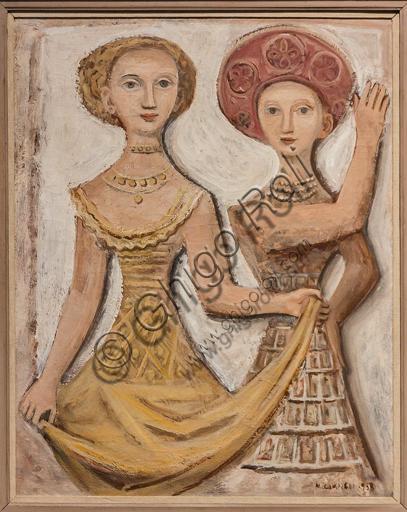 """Museo Novecento: """"Due ballerine"""", di Massimo Campigli (Max Ihlenfeld), 1938. Olio su tela."""