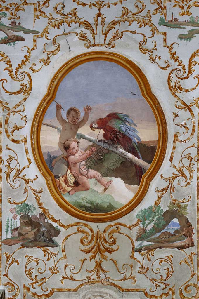 "Vicenza, Villa Valmarana ai Nani, Guest Lodgings, the Room of the Putti, medallion with putti: ""Two putti and a parrot"". Frescoes by Giandomenico Tiepolo, 1757."