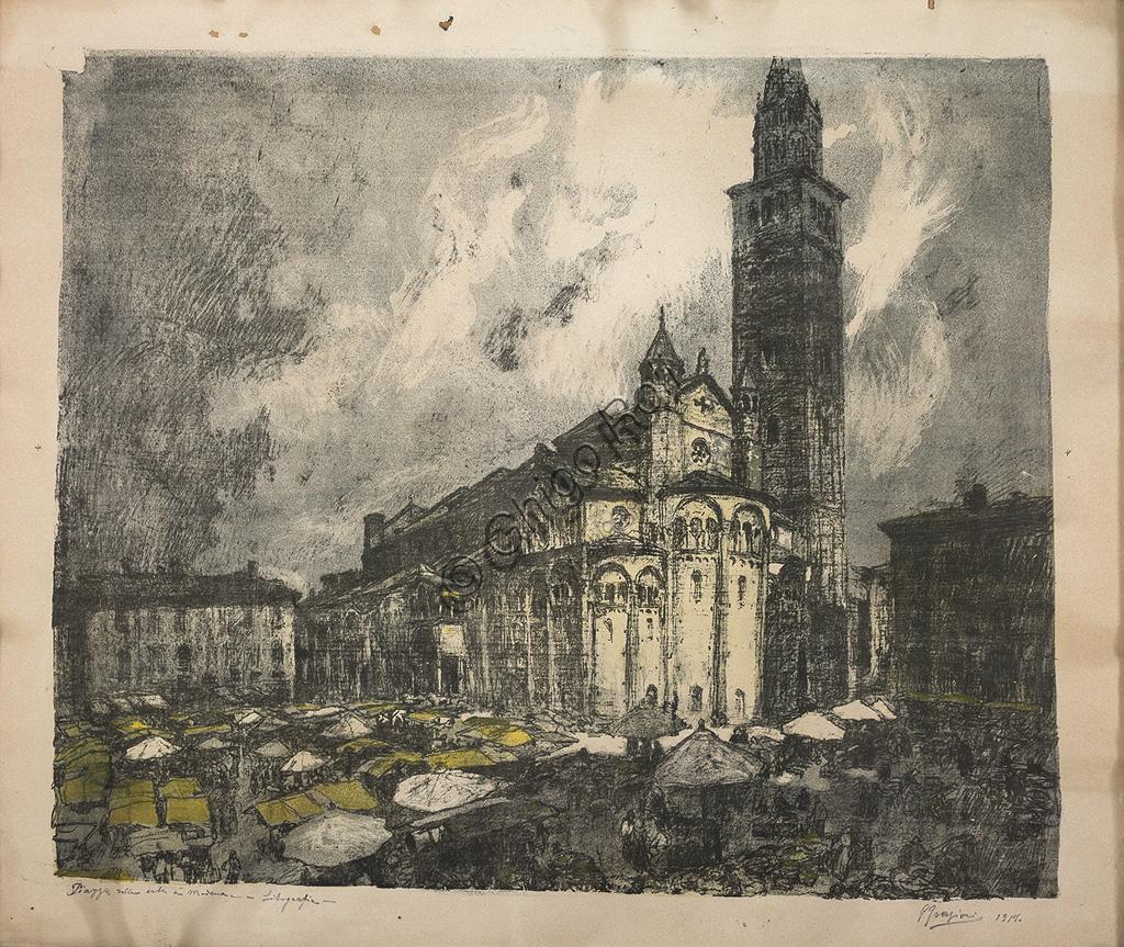 """Collezione Assicoop - Unipol: Giuseppe Graziosi (1879 - 1942): """"Duomo di Modena"""". Litografia acquerellata, cm 63 x 80."""