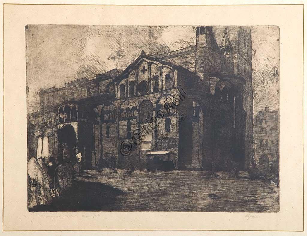 """Collezione Assicoop - Unipol: Giuseppe Graziosi (1879-1942), """"Il Duomo di Modena"""", acquaforte e acquatinta su carta, lastra."""
