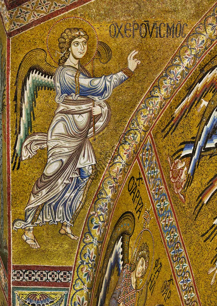 Monreale Cathedral, apse: Announcing Angel,  Byzantine mosaic with a golden background in the tympanum of the apse.  The mosaics of the Cathedral were made between the twelfth and mid-thirteenth century by partly local and partly Venetian workers, trained at the Byzantine school.