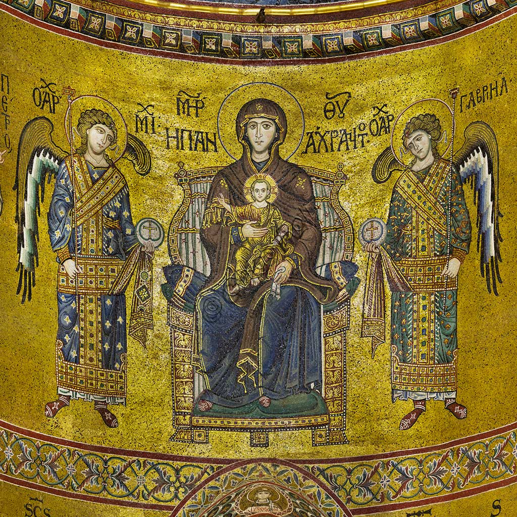 Monreale Cathedral, apse: Madonna enthroned and Infant Jesus among the archangels Michael and Gabriel; byzantine school mosaic with a golden background. The mosaics of the Cathedral were made between the twelfth and mid-thirteenth century by partly local and partly Venetian workers, trained at the Byzantine school.