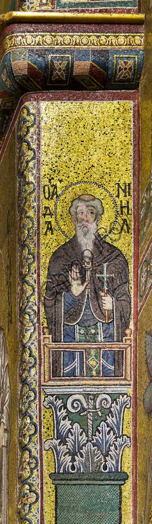 Monreale Cathedral, apse: Saint Daniel, byzantine school mosaic with a golden background. The mosaics of the Cathedral were made between the twelfth and mid-thirteenth century by partly local and partly Venetian workers, trained at the Byzantine school.