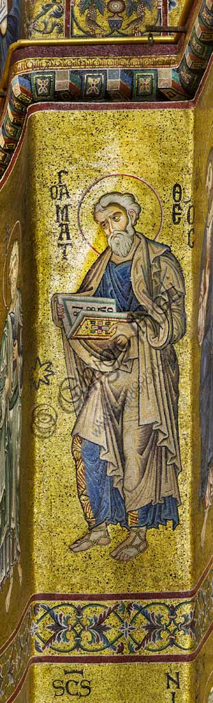 Monreale Cathedral, apse: Saint Matthew, byzantine school mosaic with a golden background. The mosaics of the Cathedral were made between the twelfth and mid-thirteenth century by partly local and partly Venetian workers, trained at the Byzantine school.