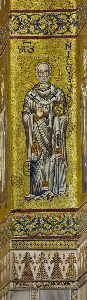 Monreale Cathedral, apse: Saint Nicholas, byzantine school mosaic with a golden background. The mosaics of the Cathedral were made between the twelfth and mid-thirteenth century by partly local and partly Venetian workers, trained at the Byzantine school.