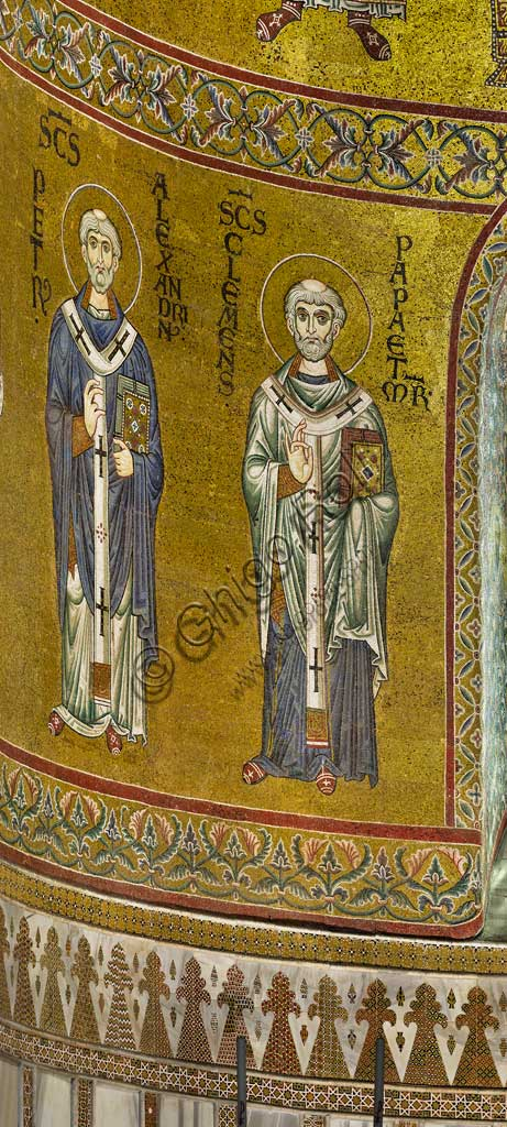 Monreale Cathedral, apse: St Peter I of Alexandria and Pope Clement I, byzantine school mosaic with a golden background. The mosaics of the Cathedral were made between the twelfth and mid-thirteenth century by partly local and partly Venetian workers, trained at the Byzantine school.