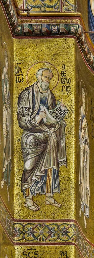 Monreale Cathedral, apse: Saint or Theologian, byzantine school mosaic with a golden background. The mosaics of the Cathedral were made between the twelfth and mid-thirteenth century by partly local and partly Venetian workers, trained at the Byzantine school.