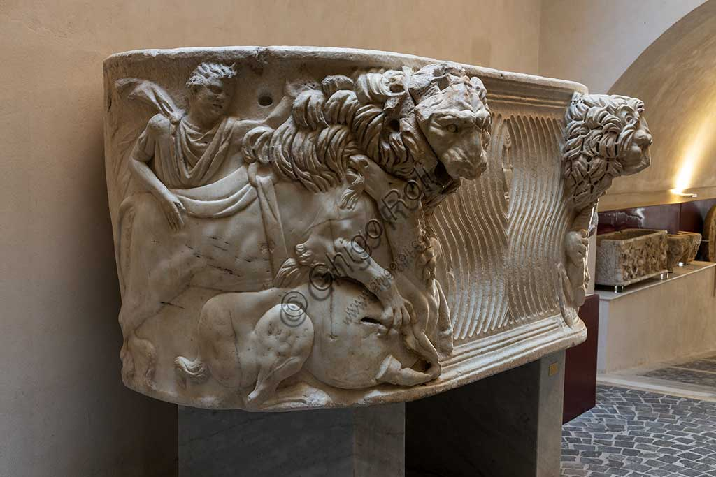 Monreale Cathedral, Diocesan Museum: Roman sarcophagus (III century), probably used as the first tomb of King William II. The scene represents a lion killing a donkey.