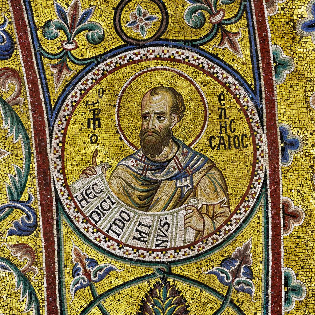Monreale Cathedral, apsidal arch: Prophet Eliseus, byzantine school mosaic with a golden background. The mosaics of the Cathedral were made between the twelfth and mid-thirteenth century by partly local and partly Venetian workers, trained at the Byzantine school.