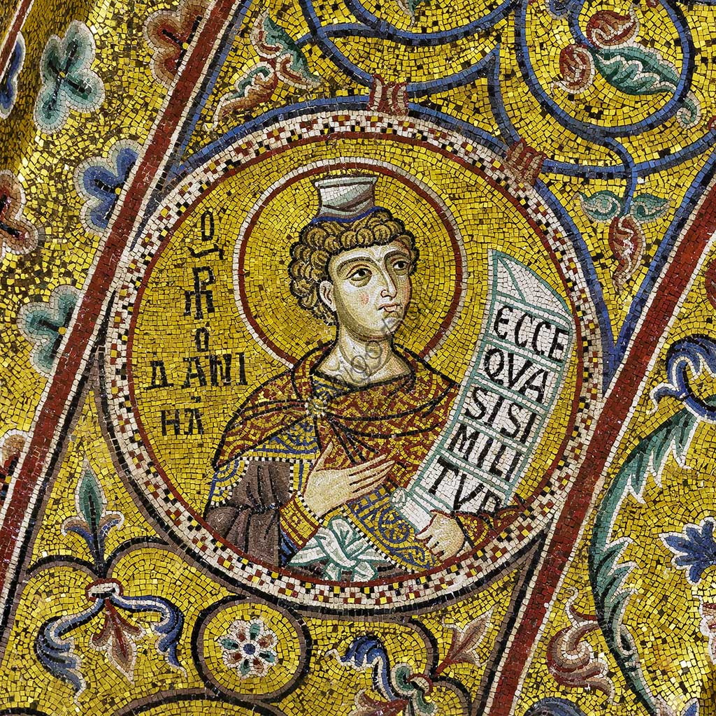 Monreale Cathedral, apsidal arch: Prophet Daniel, byzantine school mosaic with a golden background. The mosaics of the Cathedral were made between the twelfth and mid-thirteenth century by partly local and partly Venetian workers, trained at the Byzantine school.