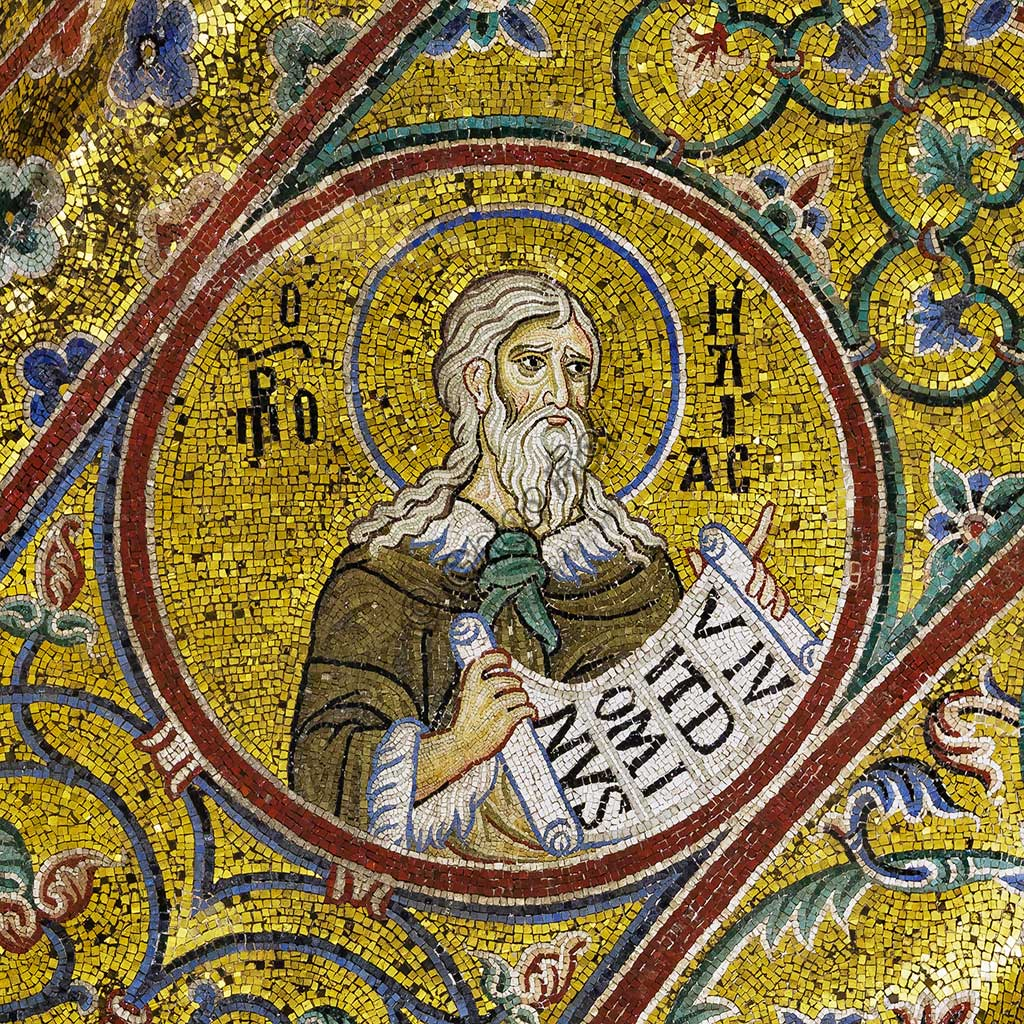 Monreale Cathedral, apsidal arch: Prophet Elijah, byzantine school mosaic with a golden background. The mosaics of the Cathedral were made between the twelfth and mid-thirteenth century by partly local and partly Venetian workers, trained at the Byzantine school.